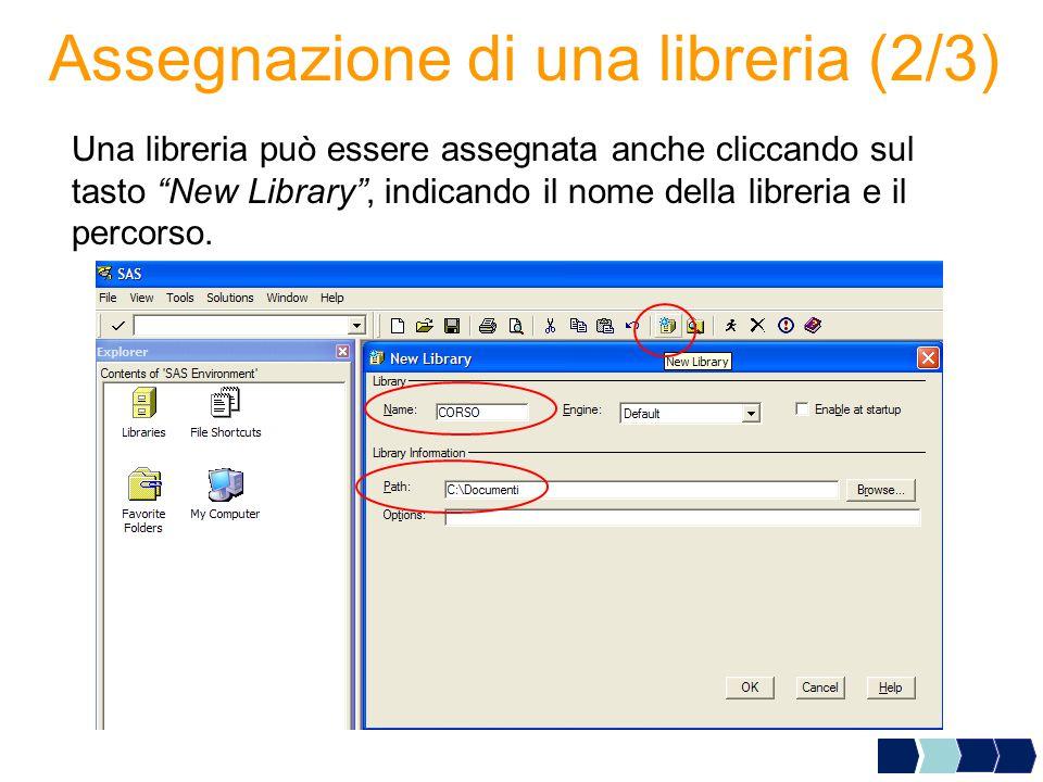 Assegnazione di una libreria (2/3) Una libreria può essere assegnata anche cliccando sul tasto New Library , indicando il nome della libreria e il percorso.