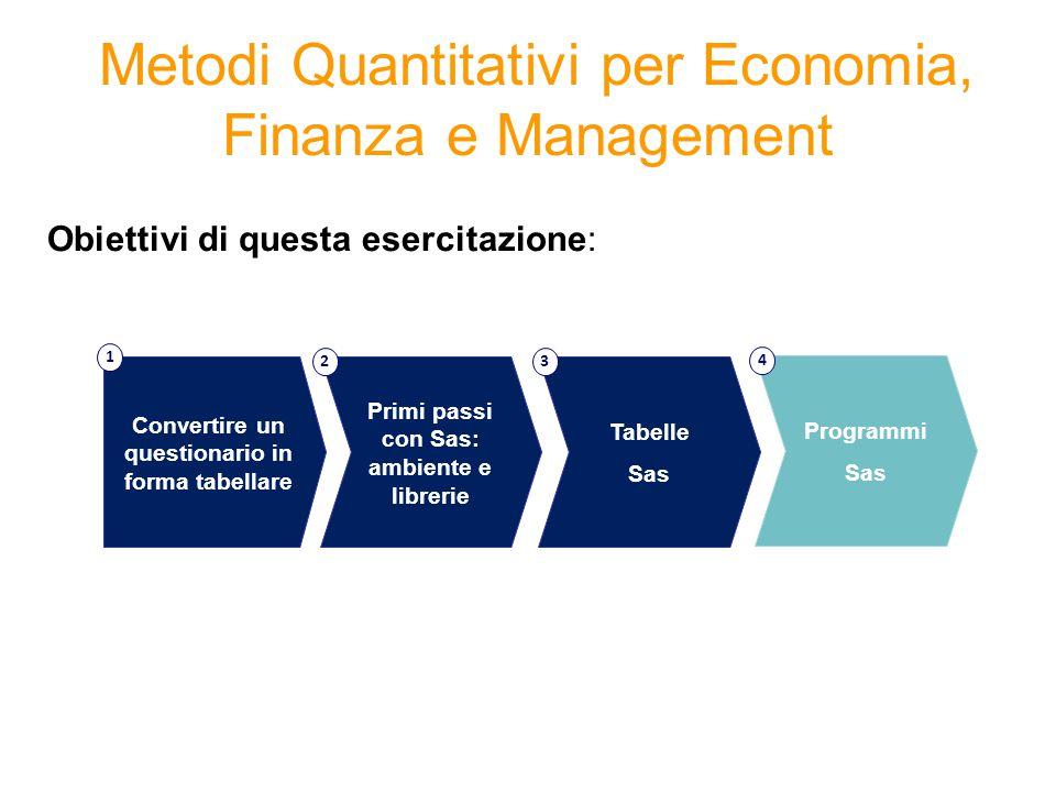 Metodi Quantitativi per Economia, Finanza e Management Obiettivi di questa esercitazione: Tabelle Sas 3 Convertire un questionario in forma tabellare 1 Primi passi con Sas: ambiente e librerie 2 Programmi Sas 4