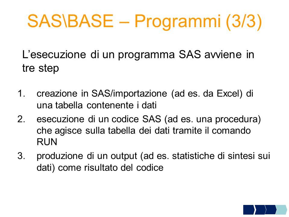 SAS\BASE – Programmi (3/3) 1.creazione in SAS/importazione (ad es.