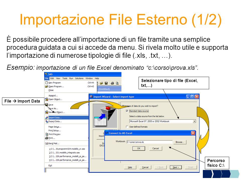 Importazione File Esterno (1/2) È possibile procedere all'importazione di un file tramite una semplice procedura guidata a cui si accede da menu.