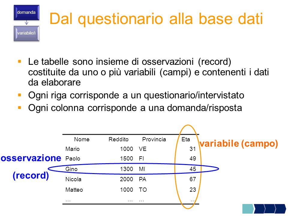  Le tabelle sono insieme di osservazioni (record) costituite da uno o più variabili (campi) e contenenti i dati da elaborare  Ogni riga corrisponde a un questionario/intervistato  Ogni colonna corrisponde a una domanda/risposta Dal questionario alla base dati domanda variabile/i NomeRedditoProvinciaEta Mario1000VE31 Paolo1500FI49 Gino1300MI45 Nicola2000PA67 Matteo1000TO23 ………… variabile (campo) osservazione (record)