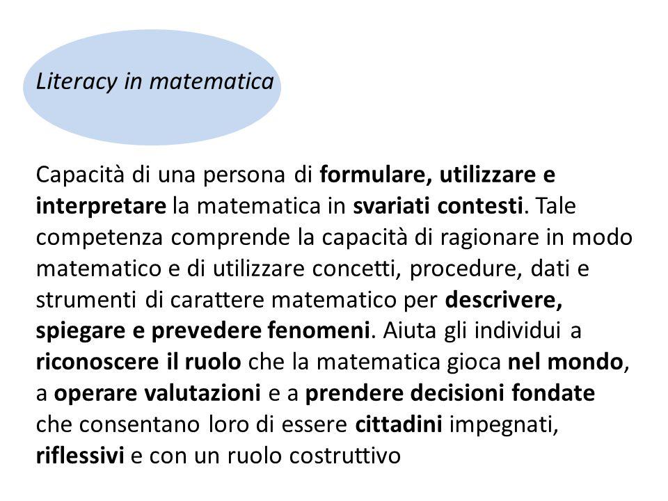 Literacy in matematica Capacità di una persona di formulare, utilizzare e interpretare la matematica in svariati contesti.