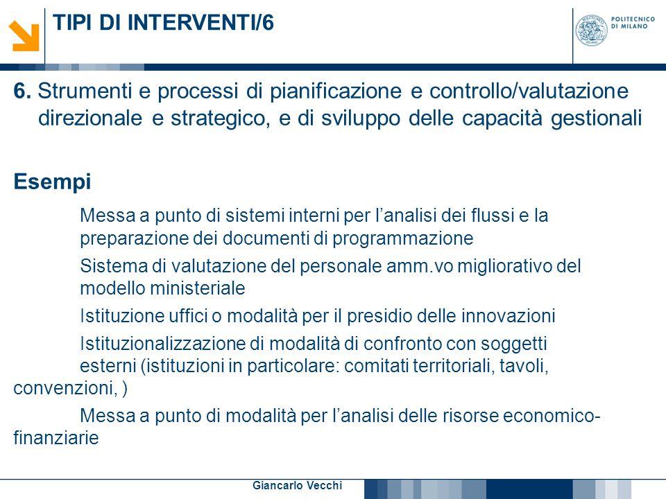 10 Giancarlo Vecchi TIPI DI INTERVENTI/6 6. Strumenti e processi di pianificazione e controllo/valutazione direzionale e strategico, e di sviluppo del
