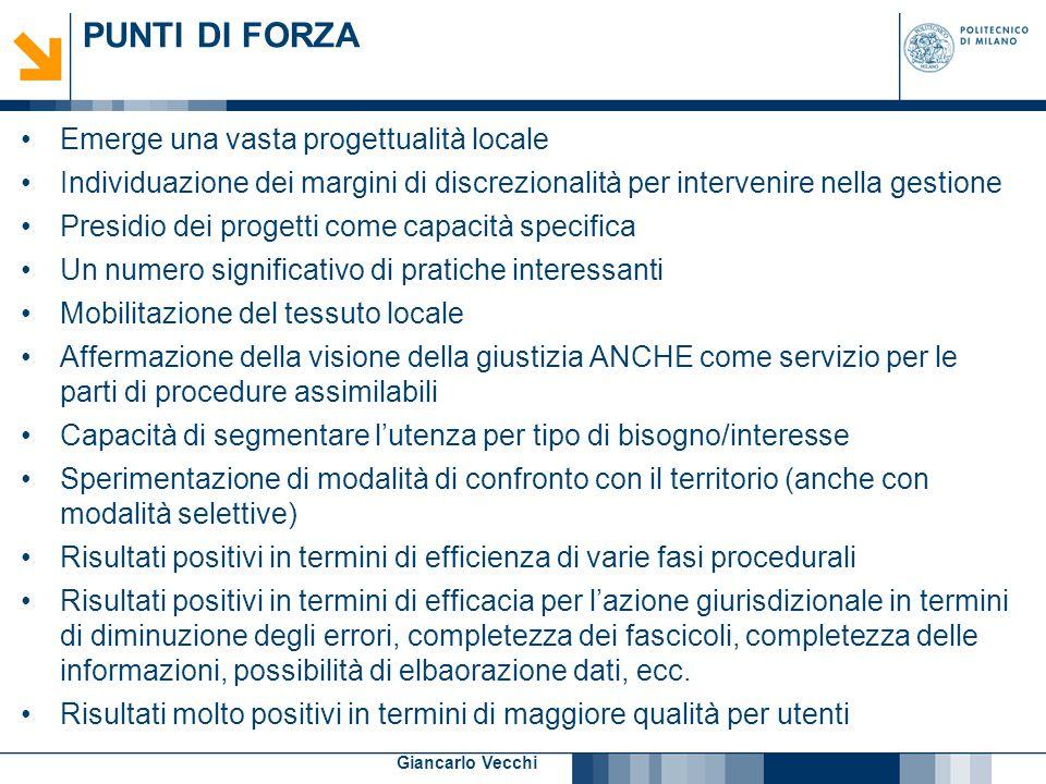 13 Giancarlo Vecchi PUNTI DI FORZA Emerge una vasta progettualità locale Individuazione dei margini di discrezionalità per intervenire nella gestione