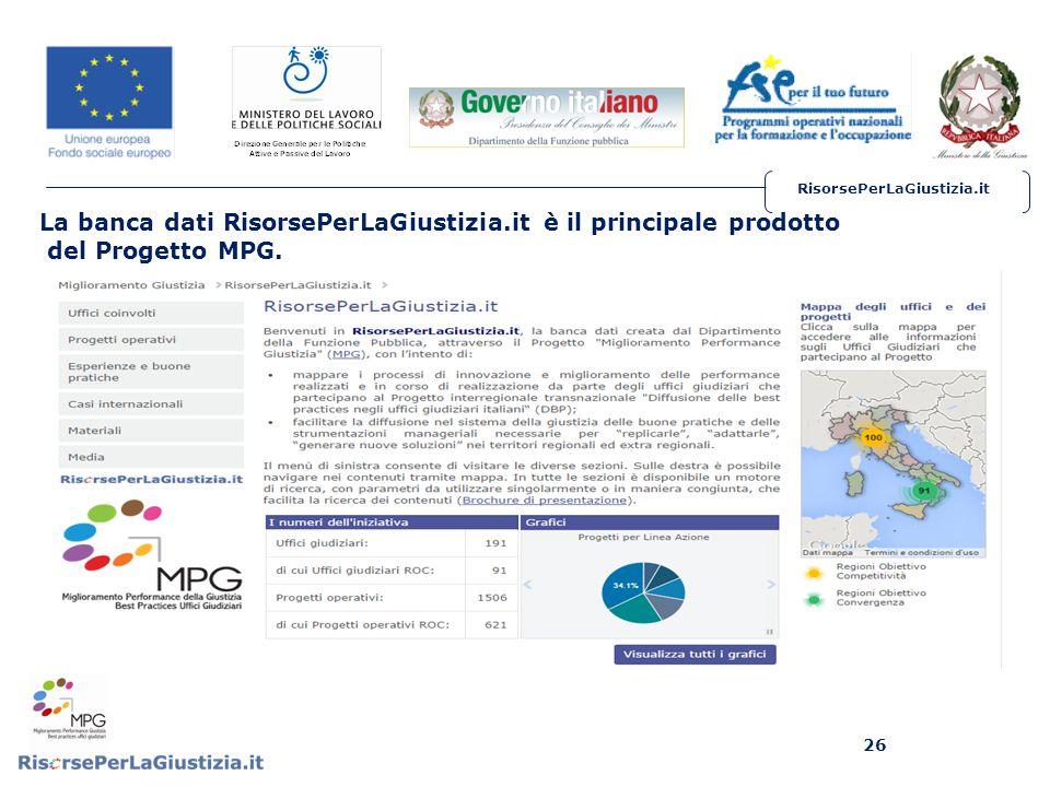 RisorsePerLaGiustizia.it 26 La banca dati RisorsePerLaGiustizia.it è il principale prodotto del Progetto MPG.