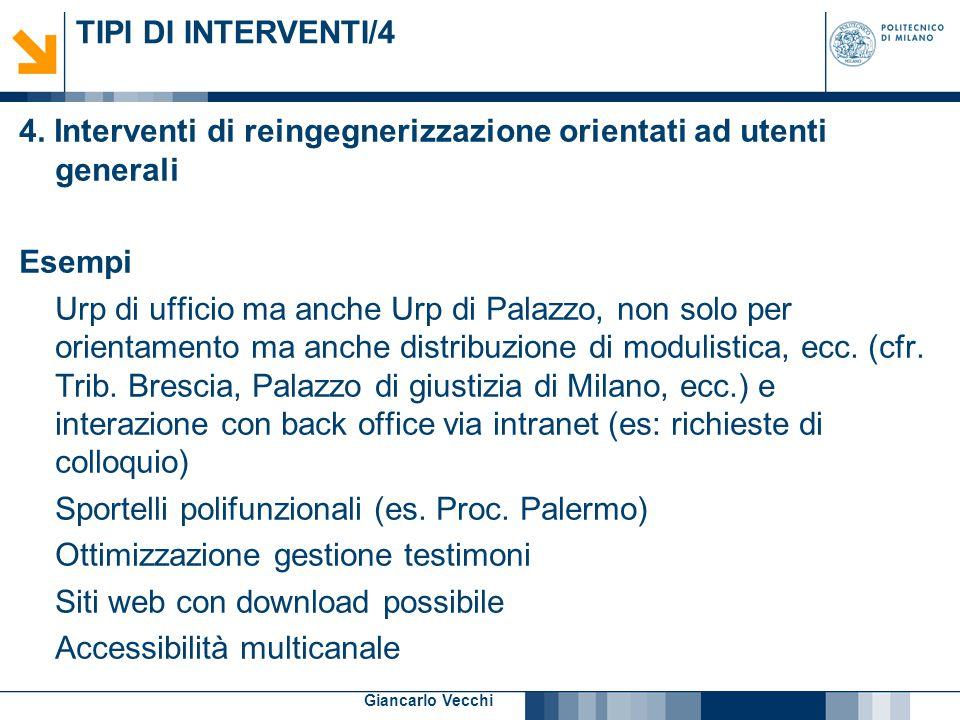 8 Giancarlo Vecchi TIPI DI INTERVENTI/4 4. Interventi di reingegnerizzazione orientati ad utenti generali Esempi Urp di ufficio ma anche Urp di Palazz
