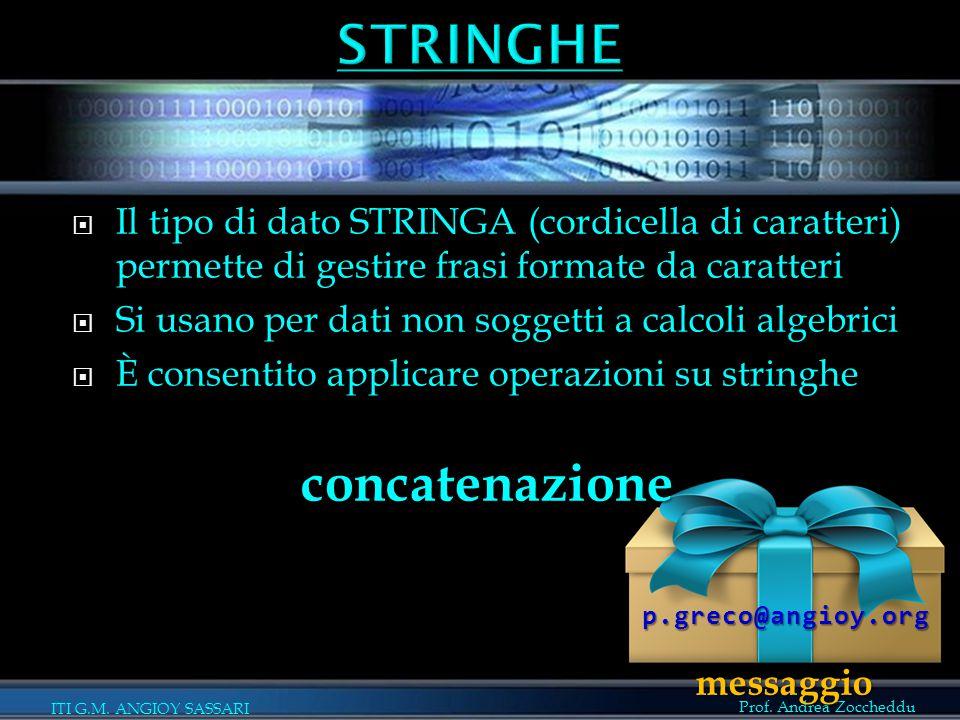 Prof. Andrea Zoccheddu ITI G.M. ANGIOY SASSARI  Il tipo di dato STRINGA (cordicella di caratteri) permette di gestire frasi formate da caratteri  Si