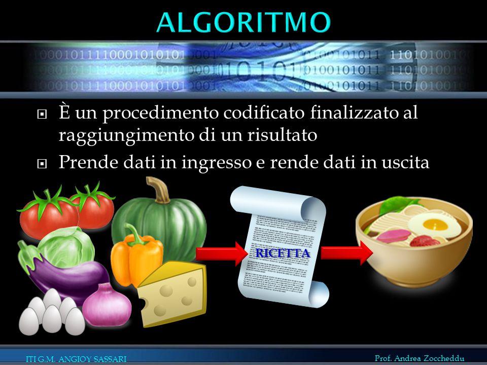 Prof. Andrea Zoccheddu ITI G.M. ANGIOY SASSARI  È un procedimento codificato finalizzato al raggiungimento di un risultato  Prende dati in ingresso