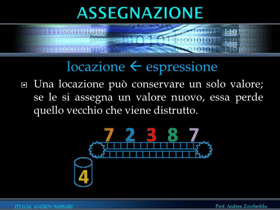 Prof. Andrea Zoccheddu ITI G.M. ANGIOY SASSARI locazione  espressione  Una locazione può conservare un solo valore; se le si assegna un valore nuovo