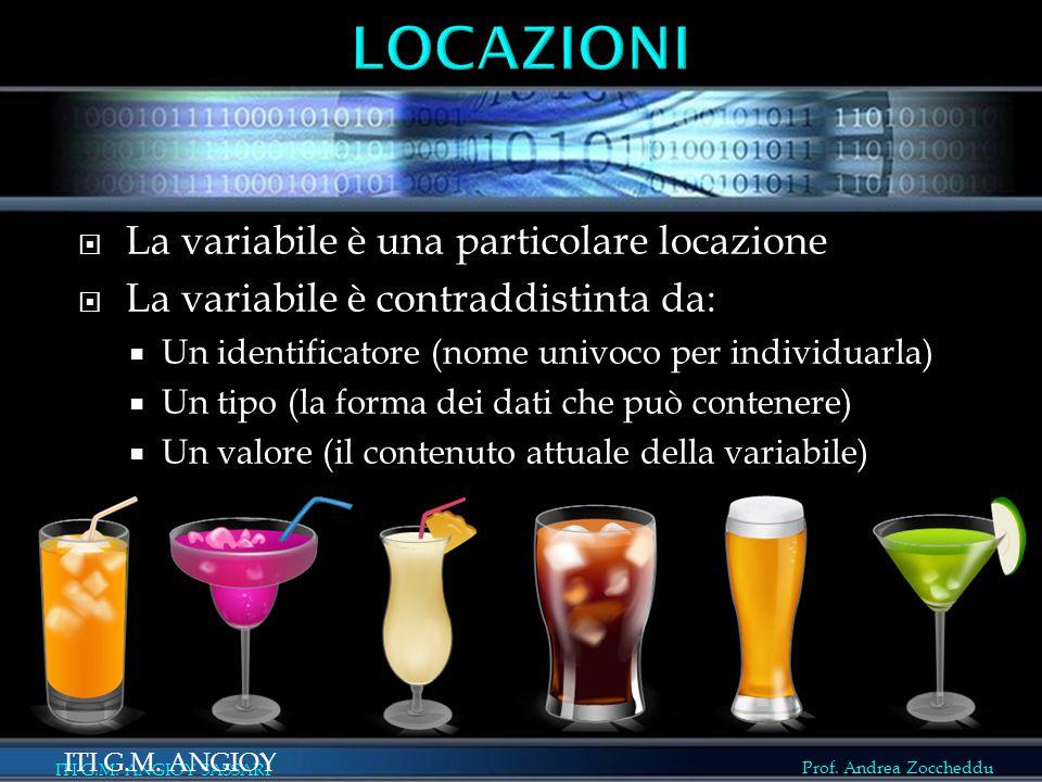 Prof. Andrea Zoccheddu ITI G.M. ANGIOY SASSARI  La variabile è una particolare locazione  La variabile è contraddistinta da:  Un identificatore (no