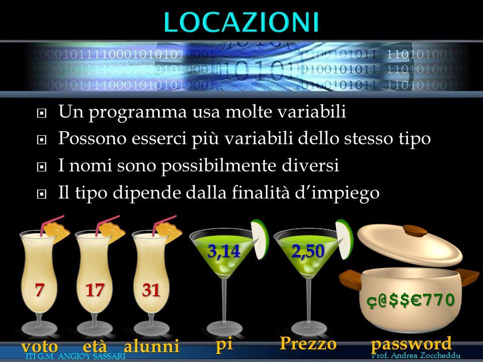 Prof. Andrea Zoccheddu ITI G.M. ANGIOY SASSARI  Un programma usa molte variabili  Possono esserci più variabili dello stesso tipo  I nomi sono poss