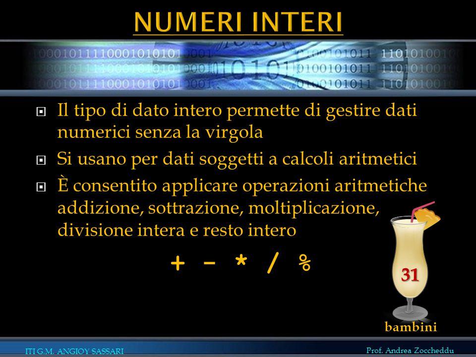 Prof. Andrea Zoccheddu ITI G.M. ANGIOY SASSARI  Il tipo di dato intero permette di gestire dati numerici senza la virgola  Si usano per dati soggett