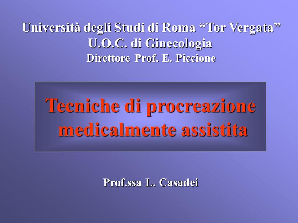 """Università degli Studi di Roma """"Tor Vergata"""" U.O.C. di Ginecologia Direttore Prof. E. Piccione Prof.ssa L. Casadei Tecniche di procreazione medicalmen"""