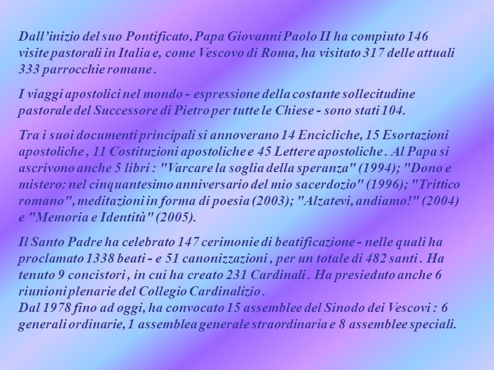 Dall'inizio del suo Pontificato, Papa Giovanni Paolo II ha compiuto 146 visite pastorali in Italia e, come Vescovo di Roma, ha visitato 317 delle attuali 333 parrocchie romane.