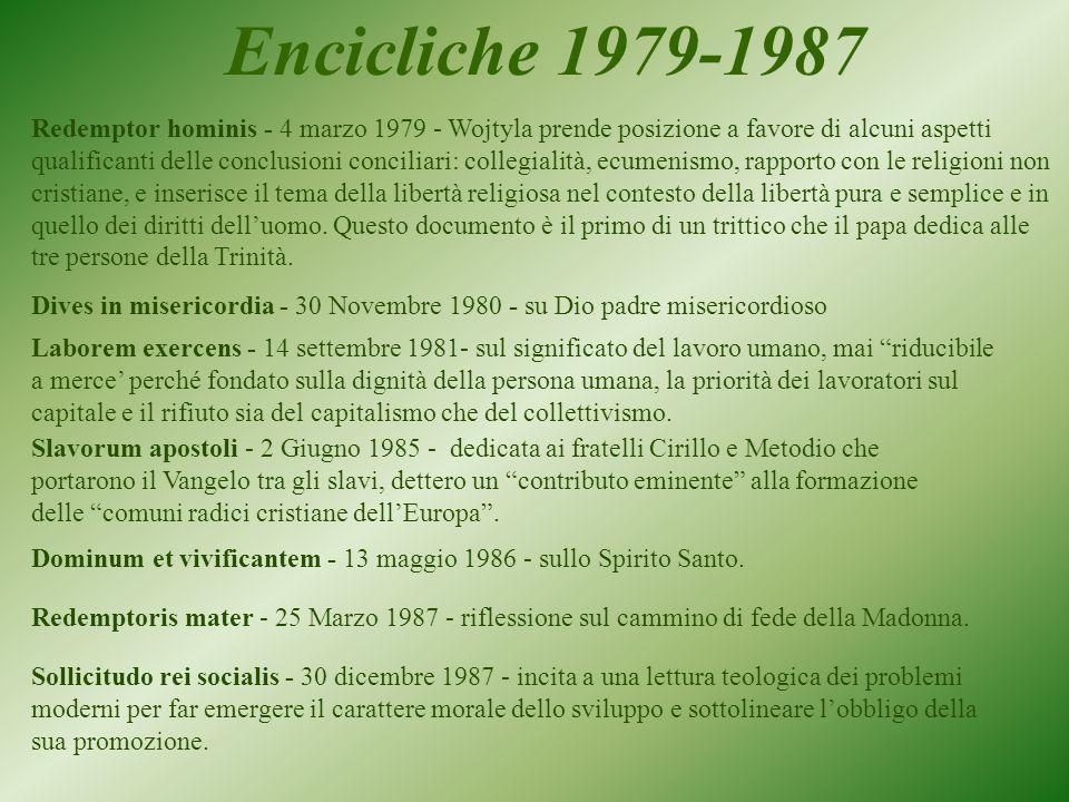 Redemptor hominis - 4 marzo 1979 - Wojtyla prende posizione a favore di alcuni aspetti qualificanti delle conclusioni conciliari: collegialità, ecumenismo, rapporto con le religioni non cristiane, e inserisce il tema della libertà religiosa nel contesto della libertà pura e semplice e in quello dei diritti dell'uomo.