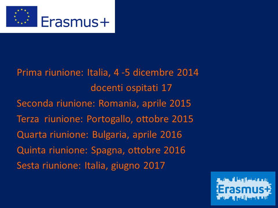 Prima riunione: Italia, 4 -5 dicembre 2014 docenti ospitati 17 Seconda riunione: Romania, aprile 2015 Terza riunione: Portogallo, ottobre 2015 Quarta