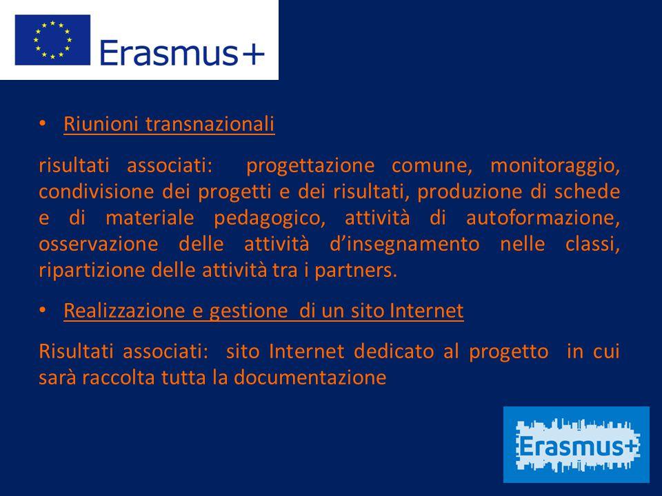 Riunioni transnazionali risultati associati: progettazione comune, monitoraggio, condivisione dei progetti e dei risultati, produzione di schede e di
