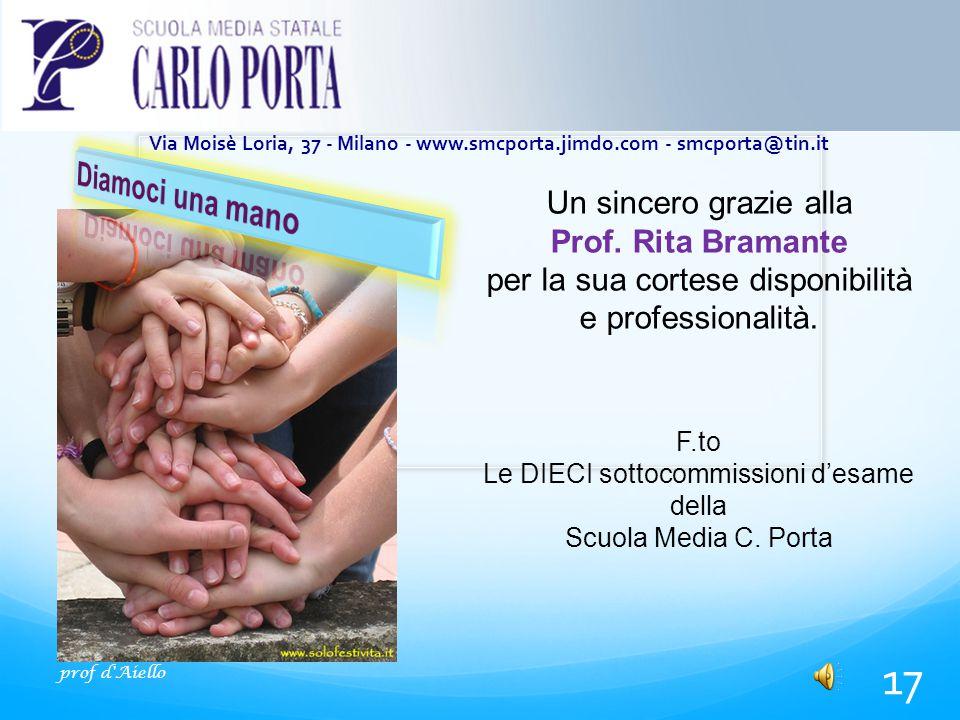 prof d Aiello 17 Via Moisè Loria, 37 - Milano - www.smcporta.jimdo.com - smcporta@tin.it Un sincero grazie alla Prof.
