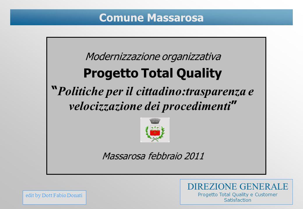 """edit by Dott Fabio Donati Comune Massarosa Modernizzazione organizzativa Progetto Total Quality """" Politiche per il cittadino:trasparenza e velocizzazi"""