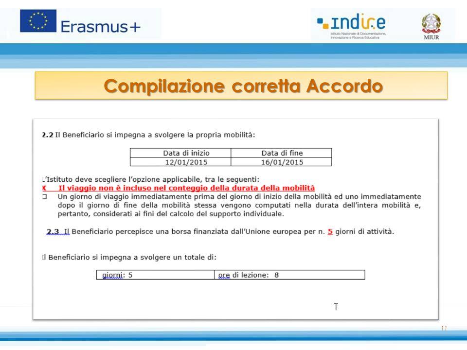 11 Compilazione corretta Accordo Compilazione corretta Accordo
