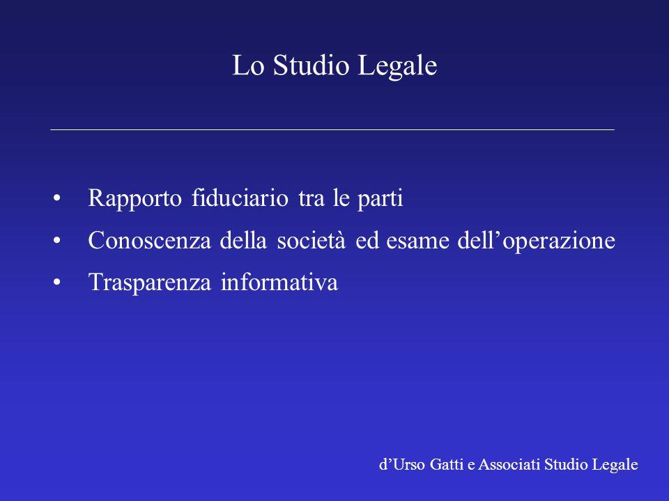 d'Urso Gatti e Associati Studio Legale Lo Studio Legale Rapporto fiduciario tra le parti Conoscenza della società ed esame dell'operazione Trasparenza informativa