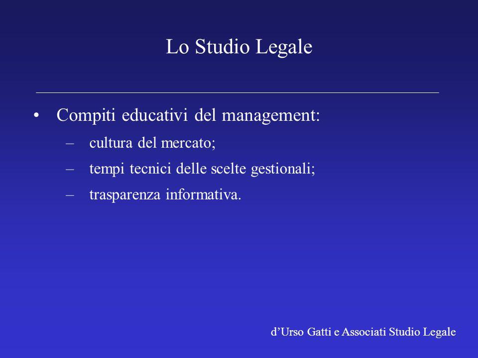 d'Urso Gatti e Associati Studio Legale Lo Studio Legale Compiti educativi del management: –cultura del mercato; –tempi tecnici delle scelte gestionali