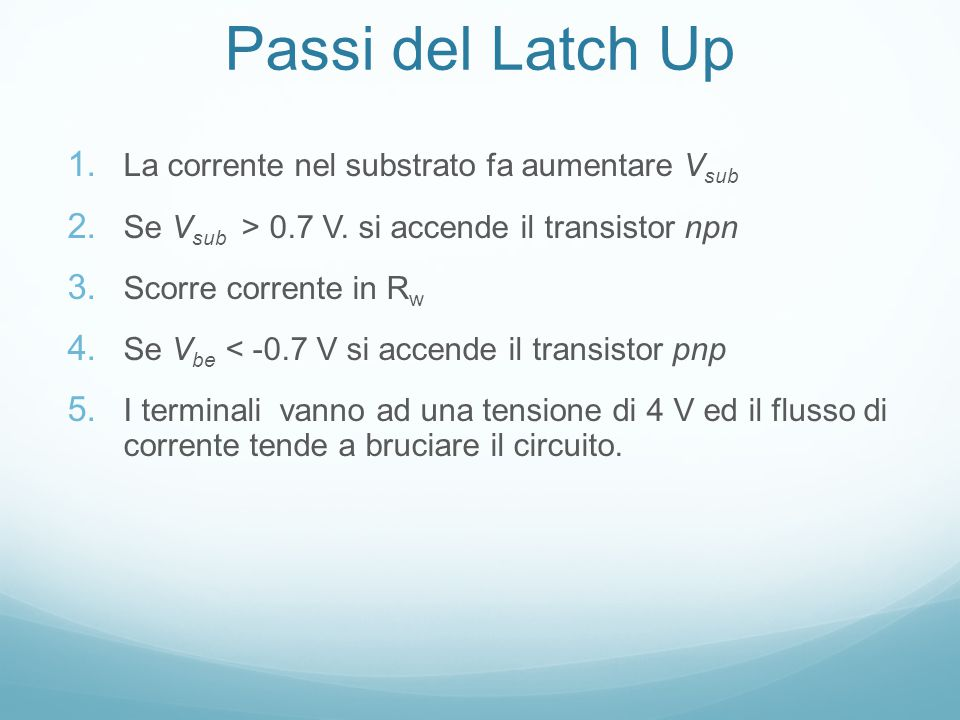 Passi del Latch Up 1. La corrente nel substrato fa aumentare V sub 2.
