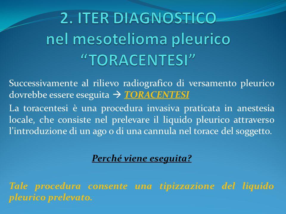 Successivamente al rilievo radiografico di versamento pleurico dovrebbe essere eseguita  TORACENTESI La toracentesi è una procedura invasiva praticat