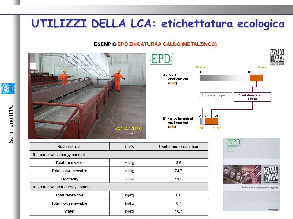 Seminario IPPC ESEMPIO EPD ZINCATURA A CALDO (METALZINCO) UTILIZZI DELLA LCA: etichettatura ecologica UTILIZZI DELLA LCA: etichettatura ecologica Resource useUnitsUseful zinc production Resource with energy content Total renewableMJ/kg3,5 Total non-renewableMJ/kg74,7 ElectricityMJ/kg11,5 Resource without energy content Total renewablekg/kg0,6 Total non-renewablekg/kg0,7 Waterkg/kg10,7