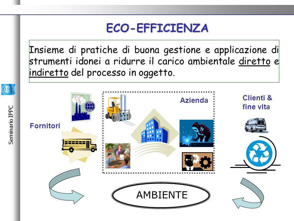 Seminario IPPC ECO-EFFICIENZA Insieme di pratiche di buona gestione e applicazione di strumenti idonei a ridurre il carico ambientale diretto e indiretto del processo in oggetto.