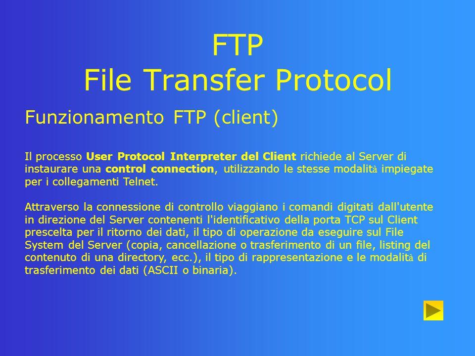 FTP File Transfer Protocol Funzionamento FTP (server) Il Protocol lnterpreter del Server verifica login e password forniti dal Client, interpreta i comandi ricevuti e li utilizza per creare la data connection.