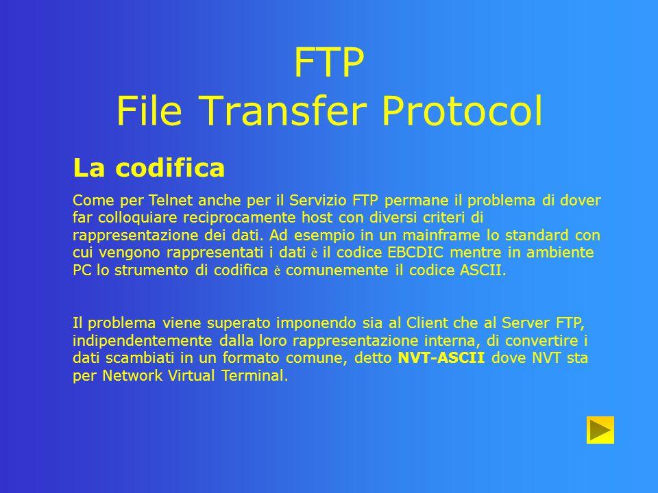 FTP File Transfer Protocol Principali comandi FTP · user: attraverso questo comando l utente comunica la sua identit à (User Name) al Protocol lnterpreter del Server, il quale.