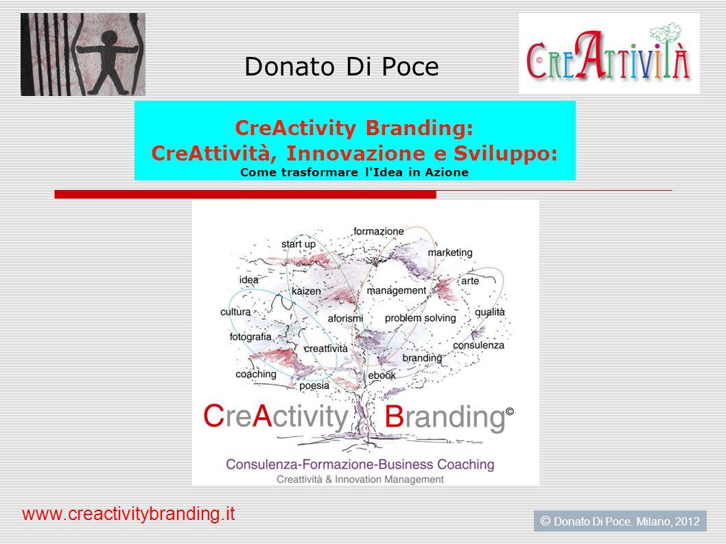 Donato Di Poce CreActivity Branding: CreAttività, Innovazione e Sviluppo: Come trasformare l Idea in Azione © Donato Di Poce.