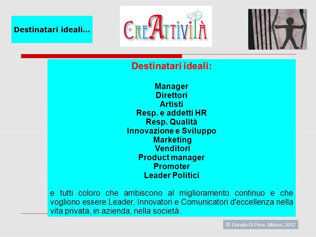 Destinatari ideali: Manager Direttori Artisti Resp.