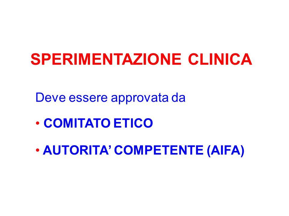 Deve essere approvata da COMITATO ETICO AUTORITA' COMPETENTE (AIFA)