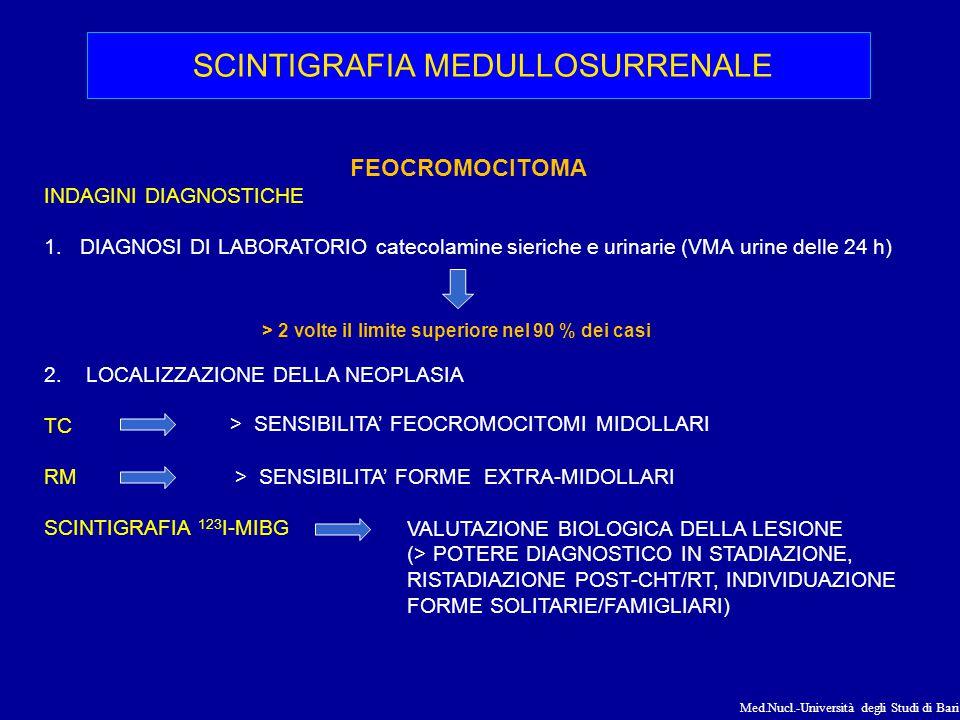 Med.Nucl.-Università degli Studi di Bari FEOCROMOCITOMA INDAGINI DIAGNOSTICHE 1.DIAGNOSI DI LABORATORIO catecolamine sieriche e urinarie (VMA urine de