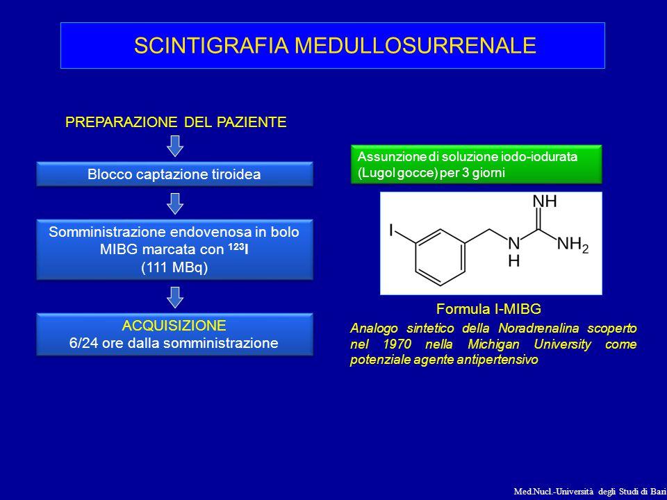 Med.Nucl.-Università degli Studi di Bari Formula I-MIBG Analogo sintetico della Noradrenalina scoperto nel 1970 nella Michigan University come potenzi