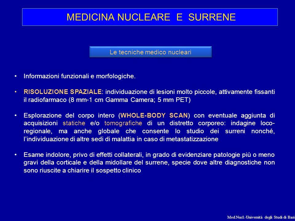 Med.Nucl.-Università degli Studi di Bari MEDICINA NUCLEARE E SURRENE Informazioni funzionali e morfologiche. RISOLUZIONE SPAZIALE: individuazione di l