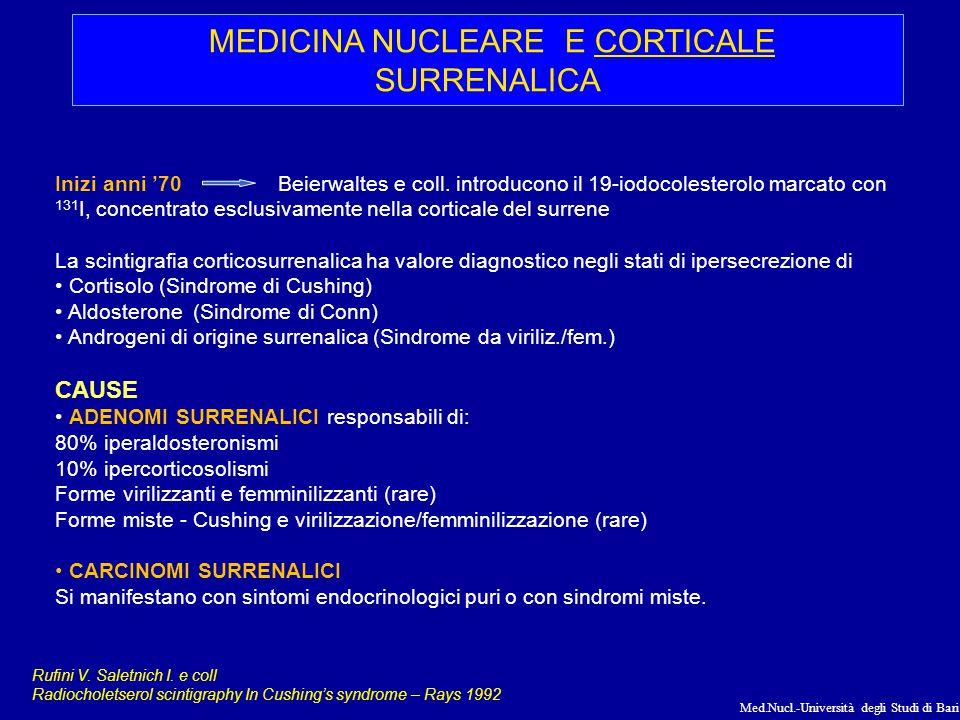 Med.Nucl.-Università degli Studi di Bari ANATOMIA SURRENE SCINTIGRAFIA DELLA CORTICALE DEL SURRENE RADIOFARMACI analoghi del colesterolo, precursore degli ormoni della corticale 131 I-19-iodiocolesterolo: Il primo radiofarmaco impiegato.