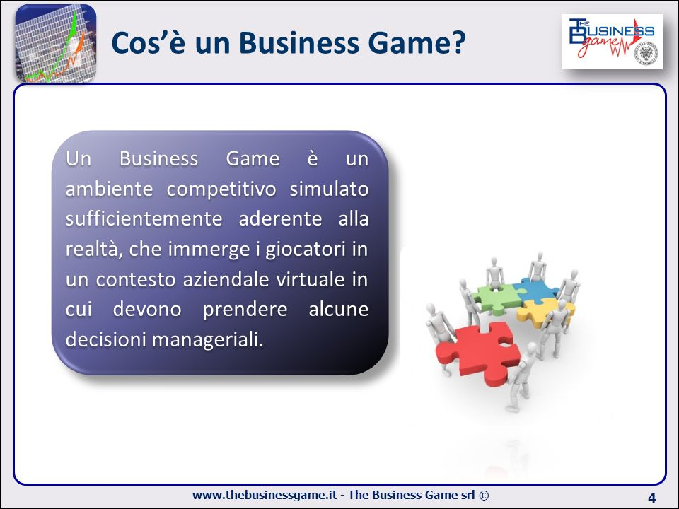 www.thebusinessgame.it - The Business Game srl © Cos'è un Business Game? 4 Un Business Game è un ambiente competitivo simulato sufficientemente aderen