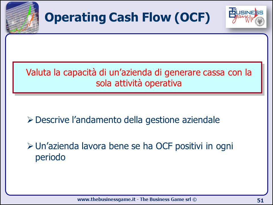 www.thebusinessgame.it - The Business Game srl © Operating Cash Flow (OCF)  Descrive l'andamento della gestione aziendale  Un'azienda lavora bene se