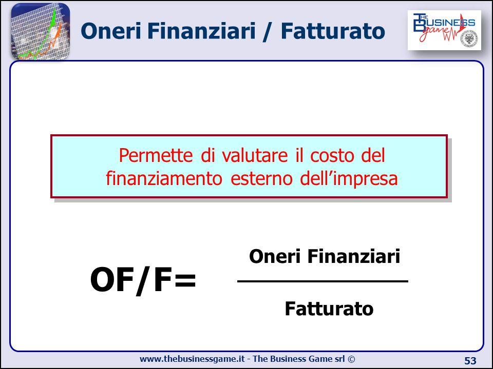 www.thebusinessgame.it - The Business Game srl © Oneri Finanziari / Fatturato 53 OF/F= Oneri Finanziari Fatturato Permette di valutare il costo del fi