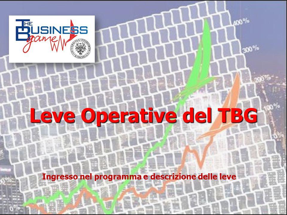 Leve Operative del TBG Ingresso nel programma e descrizione delle leve