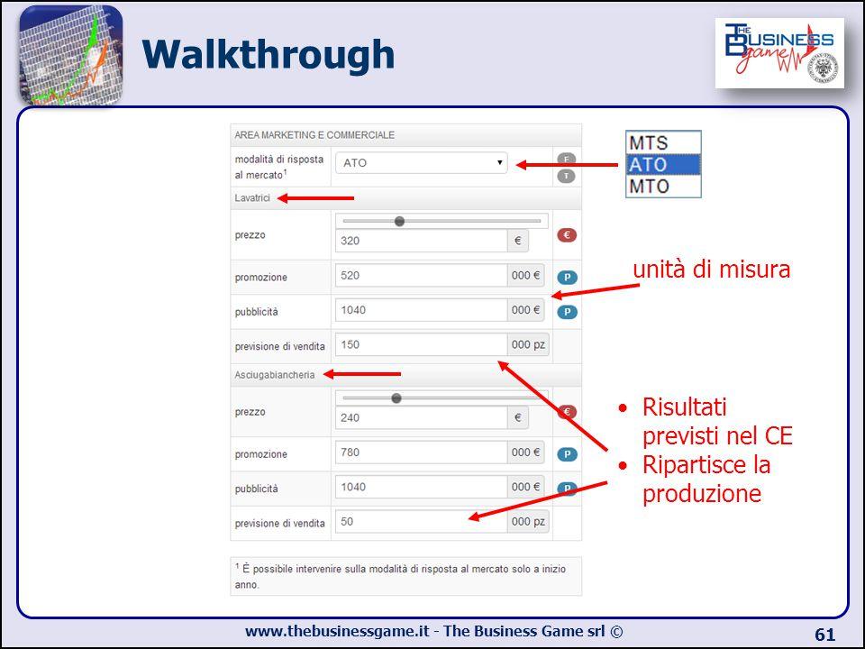 www.thebusinessgame.it - The Business Game srl © 61 Risultati previsti nel CE Ripartisce la produzione Walkthrough unità di misura