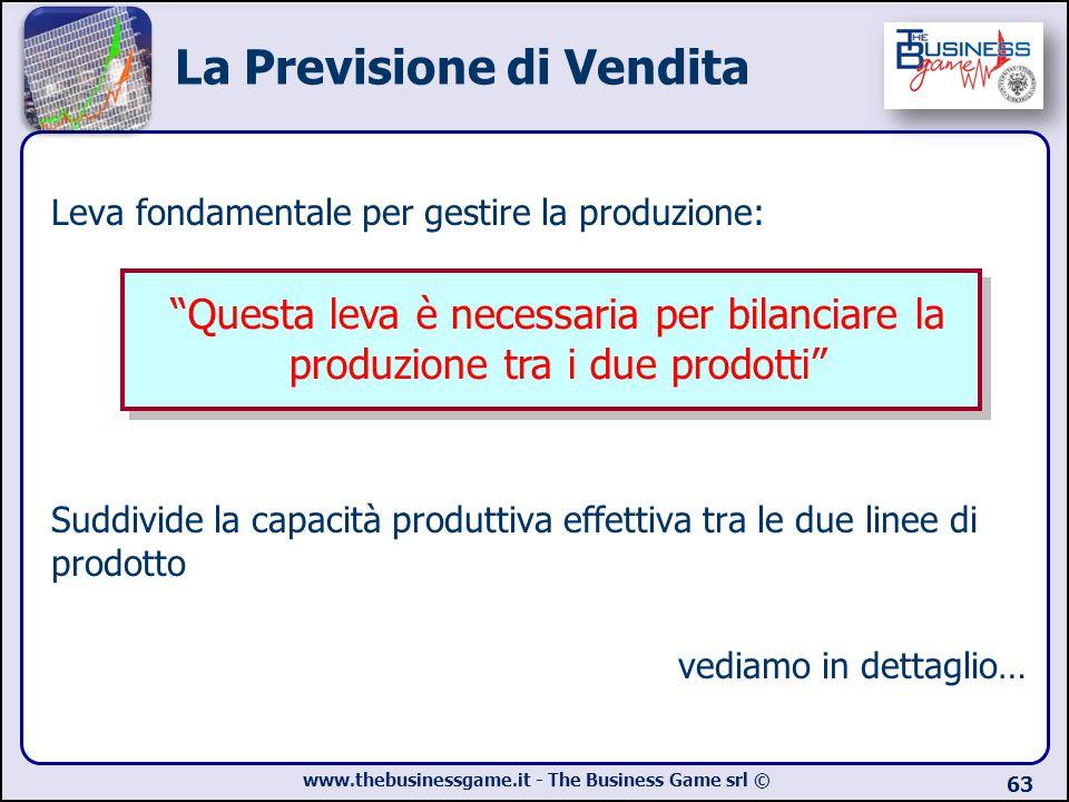 www.thebusinessgame.it - The Business Game srl © 63 La Previsione di Vendita Leva fondamentale per gestire la produzione: Suddivide la capacità produt