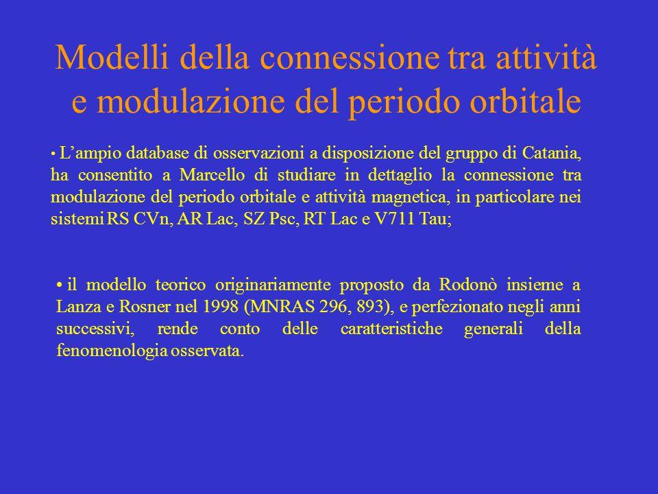 Modelli della connessione tra attività e modulazione del periodo orbitale L'ampio database di osservazioni a disposizione del gruppo di Catania, ha consentito a Marcello di studiare in dettaglio la connessione tra modulazione del periodo orbitale e attività magnetica, in particolare nei sistemi RS CVn, AR Lac, SZ Psc, RT Lac e V711 Tau; il modello teorico originariamente proposto da Rodonò insieme a Lanza e Rosner nel 1998 (MNRAS 296, 893), e perfezionato negli anni successivi, rende conto delle caratteristiche generali della fenomenologia osservata.