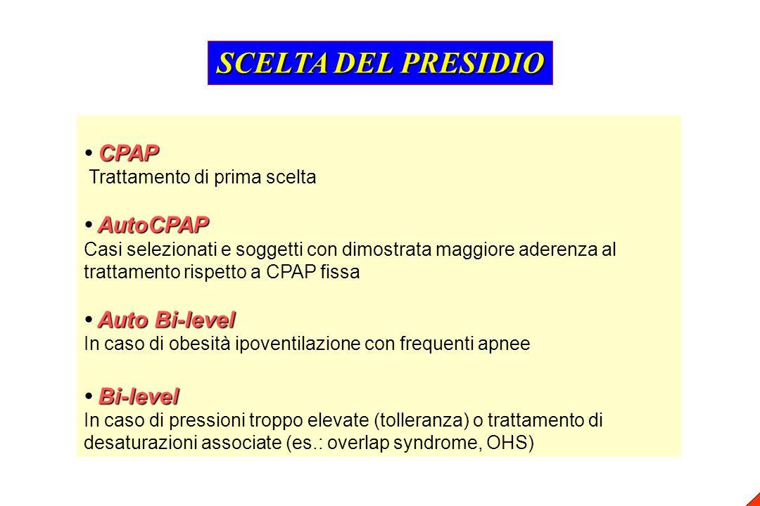 CPAP CPAP Trattamento di prima scelta AutoCPAP AutoCPAP Casi selezionati e soggetti con dimostrata maggiore aderenza al trattamento rispetto a CPAP fi