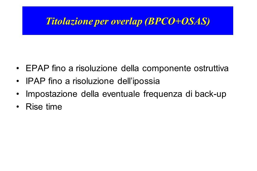 Titolazione per overlap (BPCO+OSAS) EPAP fino a risoluzione della componente ostruttiva IPAP fino a risoluzione dell'ipossia Impostazione della eventu