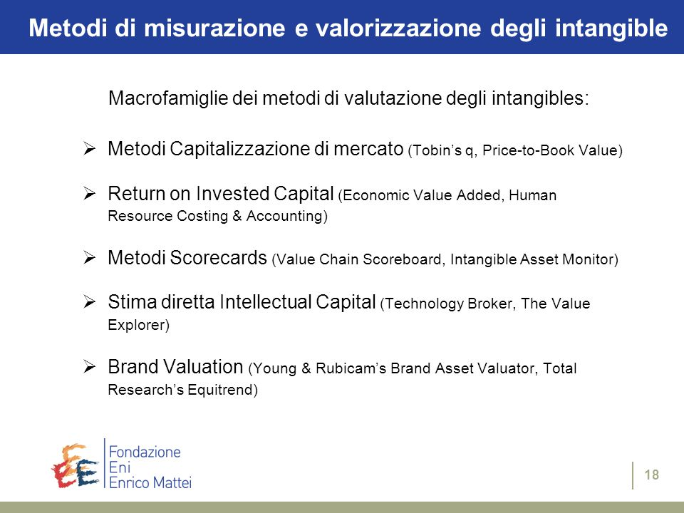 18 Metodi di misurazione e valorizzazione degli intangible Macrofamiglie dei metodi di valutazione degli intangibles:  Metodi Capitalizzazione di mercato (Tobin's q, Price-to-Book Value)  Return on Invested Capital (Economic Value Added, Human Resource Costing & Accounting)  Metodi Scorecards (Value Chain Scoreboard, Intangible Asset Monitor)  Stima diretta Intellectual Capital (Technology Broker, The Value Explorer)  Brand Valuation (Young & Rubicam's Brand Asset Valuator, Total Research's Equitrend)