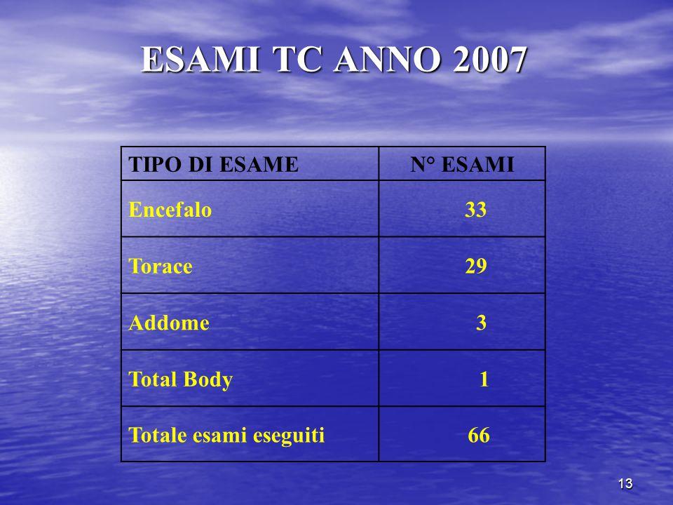13 ESAMI TC ANNO 2007 TIPO DI ESAMEN° ESAMI Encefalo 33 Torace 29 Addome 3 Total Body 1 Totale esami eseguiti 66